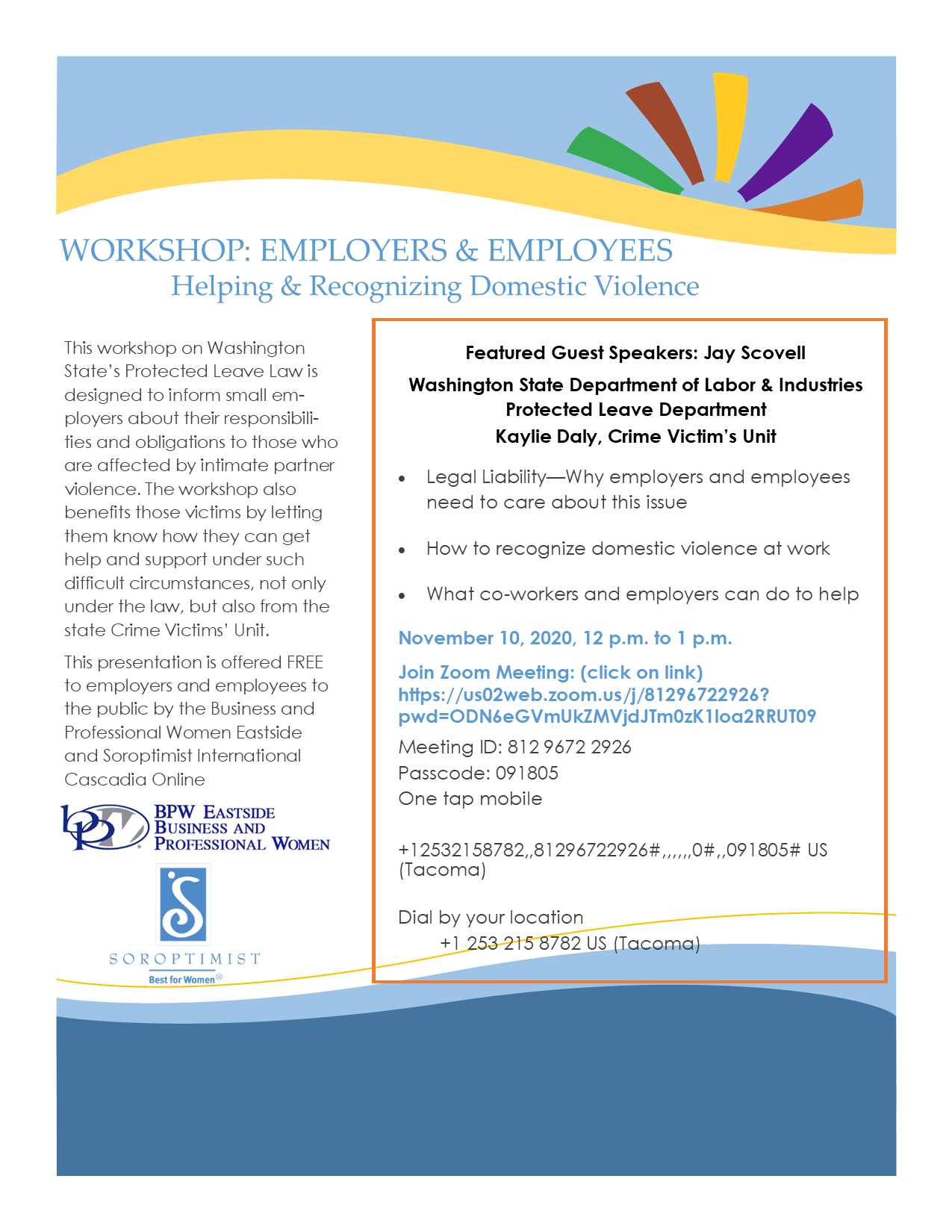 L & I Workshop Concerning the Washington State Protective Leave Law for Employers & Employees @ Zoom Meeting